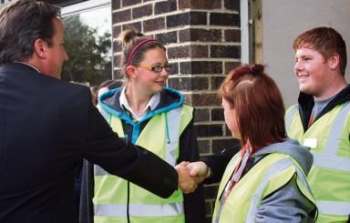 Prime Minister enjoys a 'builder's brew' at Abingdon & Witney College