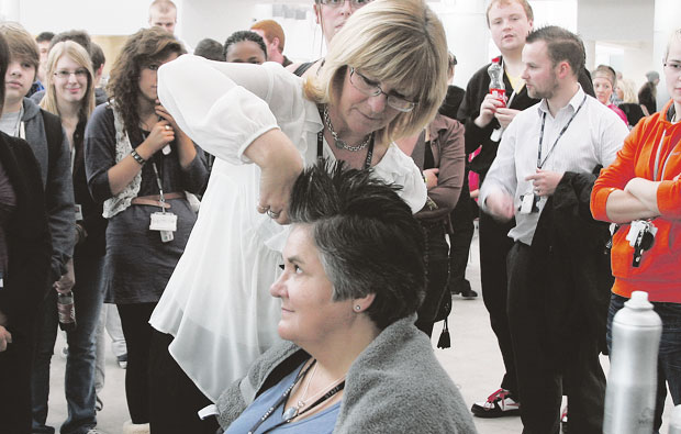 West Cheshire College break world record for most Mohican haircuts in a room