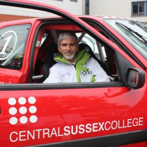 Damon Hill in the College's Motorsport car