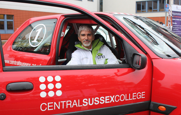 Celebrity 'petrol heads' stop to refuel at Central Sussex College campus car challenge