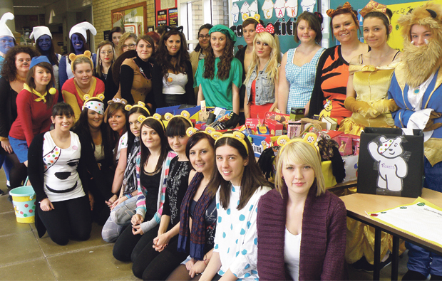 Dearne Valley College students show their spots for Pudsey Bear