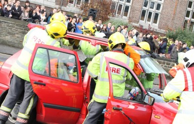 Students at Chesterfield College learn to buckle up with graphic road safety display