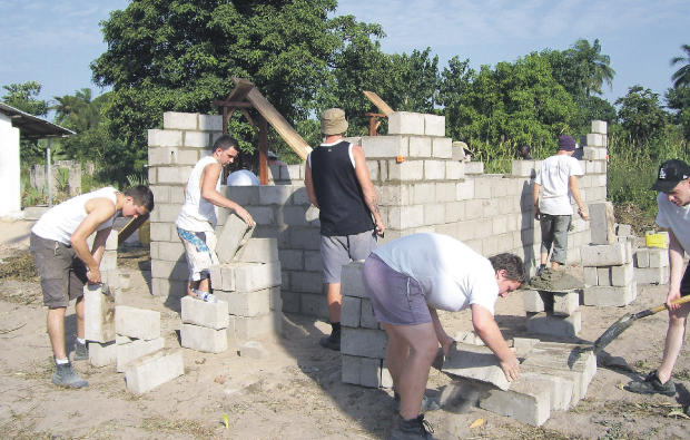 Skilled students from City of Bath College  help African villagers build vital shelters