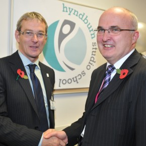 Stephen Carlisle and Paul Trickett at the unveiling of the new Hyndburn Studio School