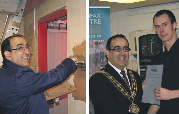 Mayor gets stuck in at Calderdale College