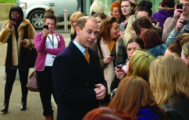 Prince Edward visits Blackpool and the Fylde College (Palatine Road campus).