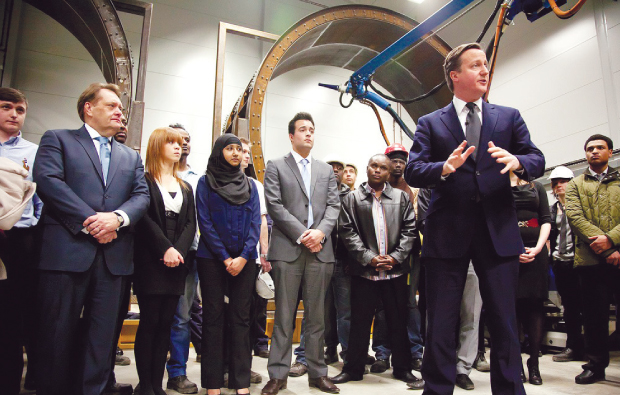 David Cameron and John Hayes MP visit apprentices from Havering College