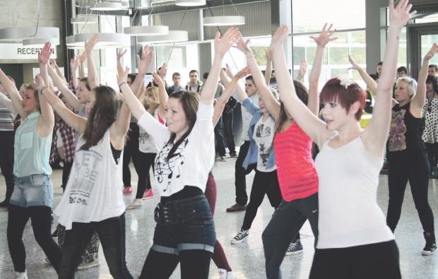 MidKent College students flash mob dance