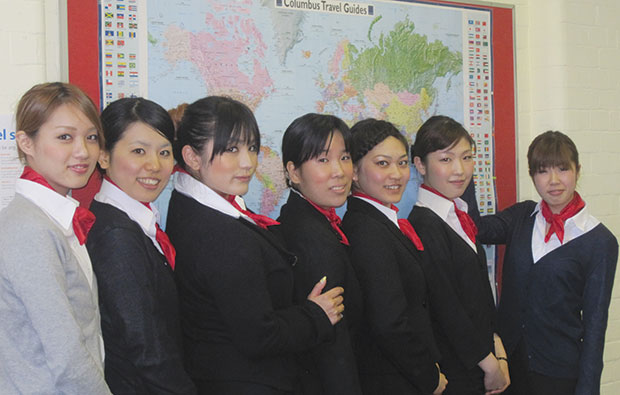 Japanese students on cloud nine over airline course at Bournemouth and Poole College