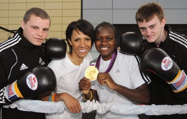 Jordan Minchell, Dame Kelly Holmes, Olympic gold medallist Nicola Adams and Liam Kelly