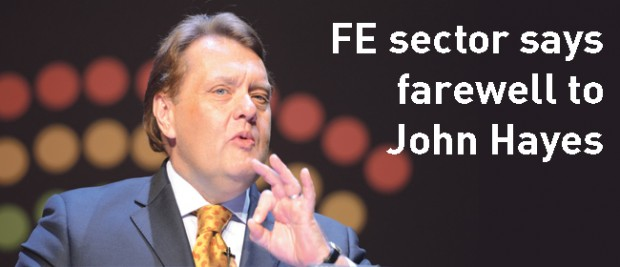 Sector pays tribute to John Hayes, now former Minister of State for FE