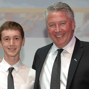 From left: Chichester College's gold-winning cabinet maker student, Edward Harringman, with celebrity builder Tommy Walsh