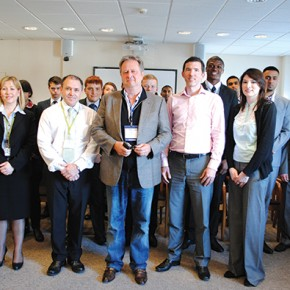 David Pinchin, Leadership through Sport founder (centre), with Joe Lyons, from Tottenham Hotspur, staff and students from the College of Haringey, Enfield and North East London's accounting academy