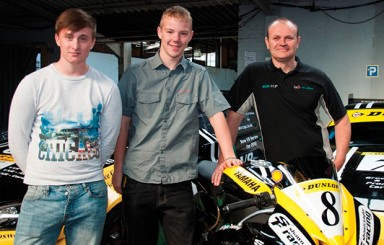 City College Norwich students Sam McDowall and Darrian McDonald with Shawn Taylor