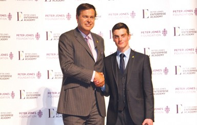 Dragons' Den star Peter Jones with Solihull College student Nick Bannister