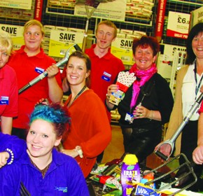 Darlington College staff Sarah Paylor, Tracy Hawthorn and Paula Willis, with students Shana Whitaker and Lynsey Cartwright, and Wickes Store Manager Michael Rowntree with his staff