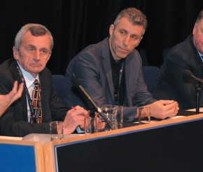 From left- Martin Doel, Peter Davies, David Hughes and Graham Hoyle on the FE Gulld panel at the  Association of Colleges annual conference and exhibition in Birmingham last year