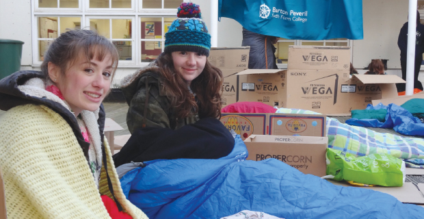 Sleep-out in icy weather raises funds for Crisis
