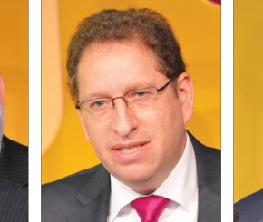 Chris Humprhies chairs the AELP conference, Stewart Segal, incoming chief executive of AELP Martin Dunford, chair of AELP