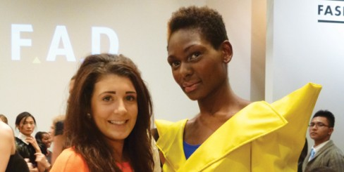 From left: Olivia Till with a London Fashion Week model, who's wearing Olivia's garments