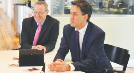 From left: Principal Ian Ashman and Labour leader Ed Miliband
