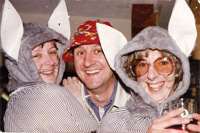 Inset: Christine Bullock with a fellow charity fundraiser and needlework and fashion lecturer Heather Akers (right), wearing a Push-Me-Pull-You costume in the Pheasant Inn in the early 1980s