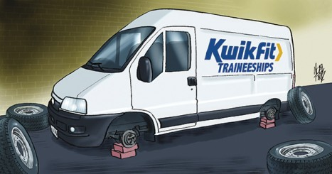Wheels come off Kwik Fit traineeships - cartoon from FE Week in December 2013