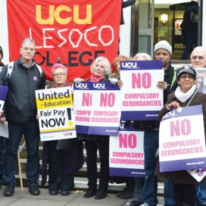 Lesoco (formerly Lewisham College and Southwark College) staff take part in national demonstrations over pay Photo by Nick Linford
