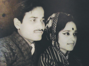 Asha Khemka, aged 15, with husband Shankar