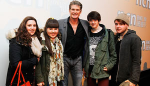 David Hasselhoff with students Charli Sanford, Giorgia Hopkinson, both aged 16, Joseph Walchester, 18, and Dean Kennedy, 20