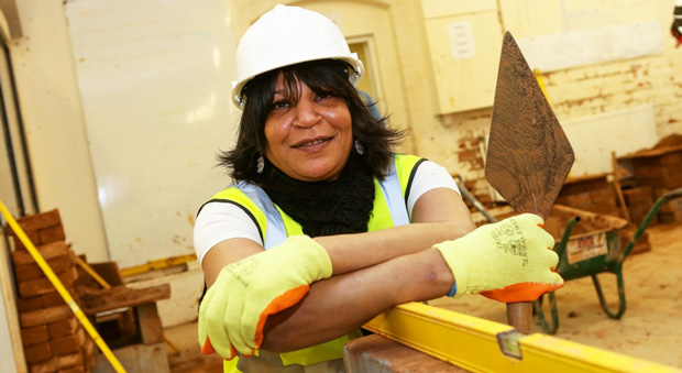 Former beautician retrains as a builder and plasterer