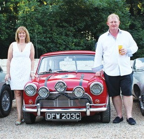Inset: Peter Marples with wife Sarah at a Radio 2 driving experience in aid of Children in Need
