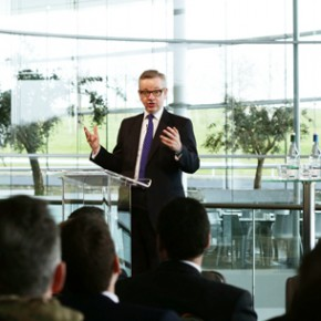 Education Secretary Michael Gove gives a speech at the McLaren Technology Centre, in Woking, Surrey, on the future of vocational education. Pic:  PA