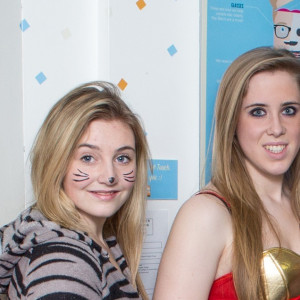 Level three photography and media production students Jodie Donovan, Anna Evans, and Emma Tynan, all aged 17, and Tom Young, 19, in fancy dress