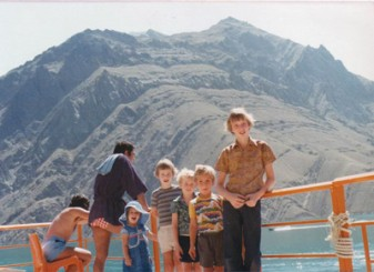 Inset: Peter Mayhew-Smith (right), aged 12, in Iran with younger brothers Alex (blue flowery t-shirt), Nick (grey striped t-shirt) and family friends