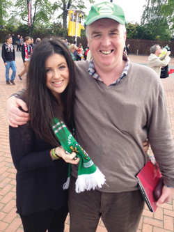 Richard Atkins with daughter Beth at Wembley Stadium watching his beloved Yeovil Town Football Club