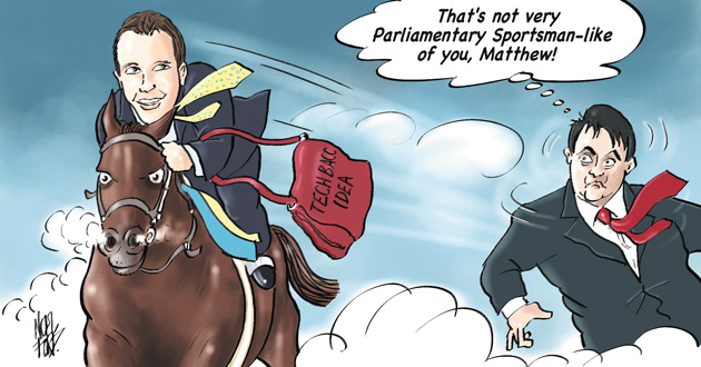 Hancock is depicted in the FE Week edition 49 cartoon (his first) riding off with former Shadow Education Secretary Stephen Twigg's plans for a Tech Bacc