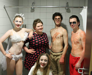 Bella with the cast of her play Stuck in Purgatory