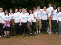 Bella, centre, with other NCS members at her first NCS summer camp in Minehead, Somerset