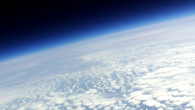 A photo of the Earth taken by a digital camera attached to one of the balloons