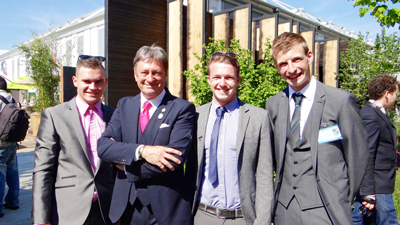 From left:  Lance Russell,  Dan Handley, and Jack Shilley, with Alan Titchmarsh after winning a gold medal at the Chelsea Flower Show.