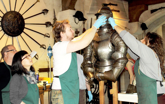 Cleaning historic armour suits team of learners