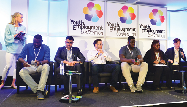 Youth Delegates panel, from left: chair Lottie Dexter, Jamal Campbell, Gulwali Passarly, Armend Jashari, Francis Augusto, Aisha Aminu and Ben Prayal