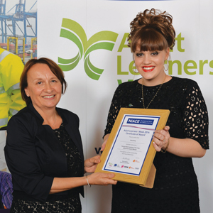 Edge Foundation chief executive Jan Hodges and young adult learner of the year award winner Amy King