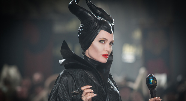 Justin's horned headpiece worn by Angelina