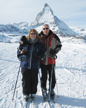 Pember and her husband in Zermatt, in Switzerland