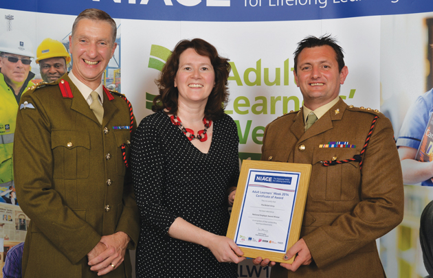 From left: Brigadier Gary Morris, director of Army educational capability, Sue Husband, Skills Funding Agency director of apprenticeships, and Captain Lee Jones, Army learning development officer