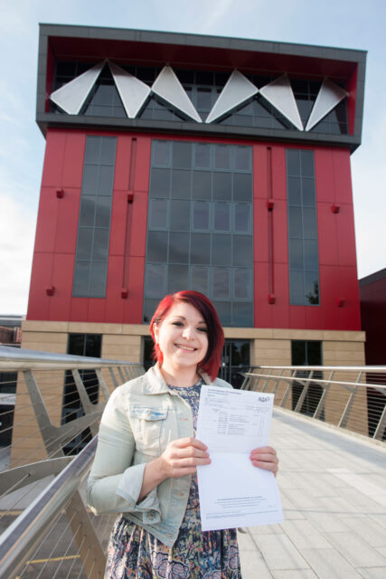Sally Clayton proud of her grades which will take her one step closer to being a maths teacher