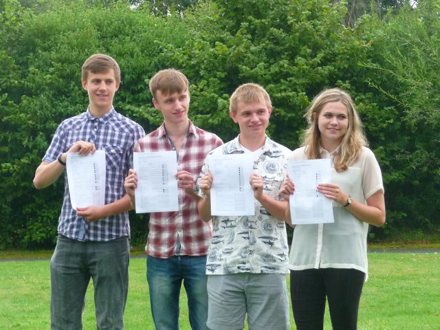 Solihull Sixth Form College A-level achievers Duncan Calvert, Alex Fergusson Liam Clarke and Kirsty Mears