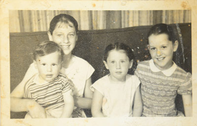 With siblings, from left: Richard, Susan, Dicketts and Gerry